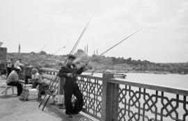 Galata Bridge Fisherman - Smoking, Istanbul 2011