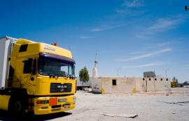 Little Mosque and Truck in Yellow, Desert Highway, Southern Jordan 2012