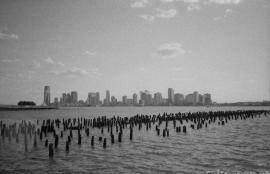 New Jersey from behind an old pier, Manhattan 2012